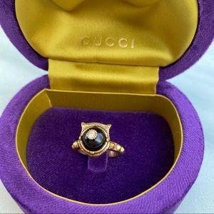 Gucci Stunning Gold & Black Hidden Tiger Ring 6
